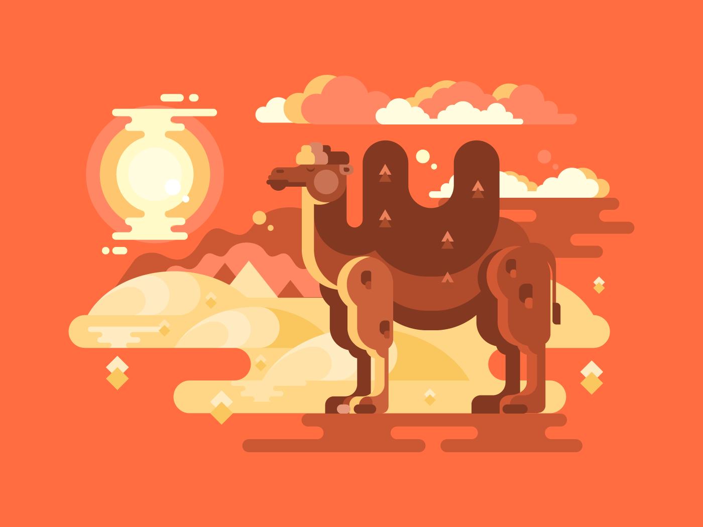 Camel in desert flat vector illustration