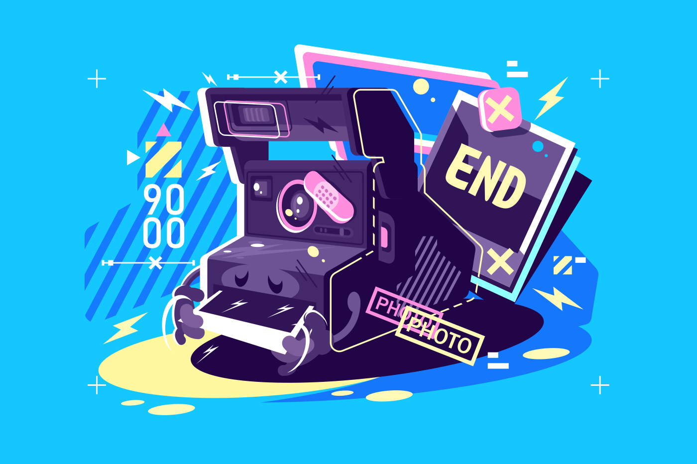 Retro vintage camera with instant snapshots. Printing photos, vector illustration