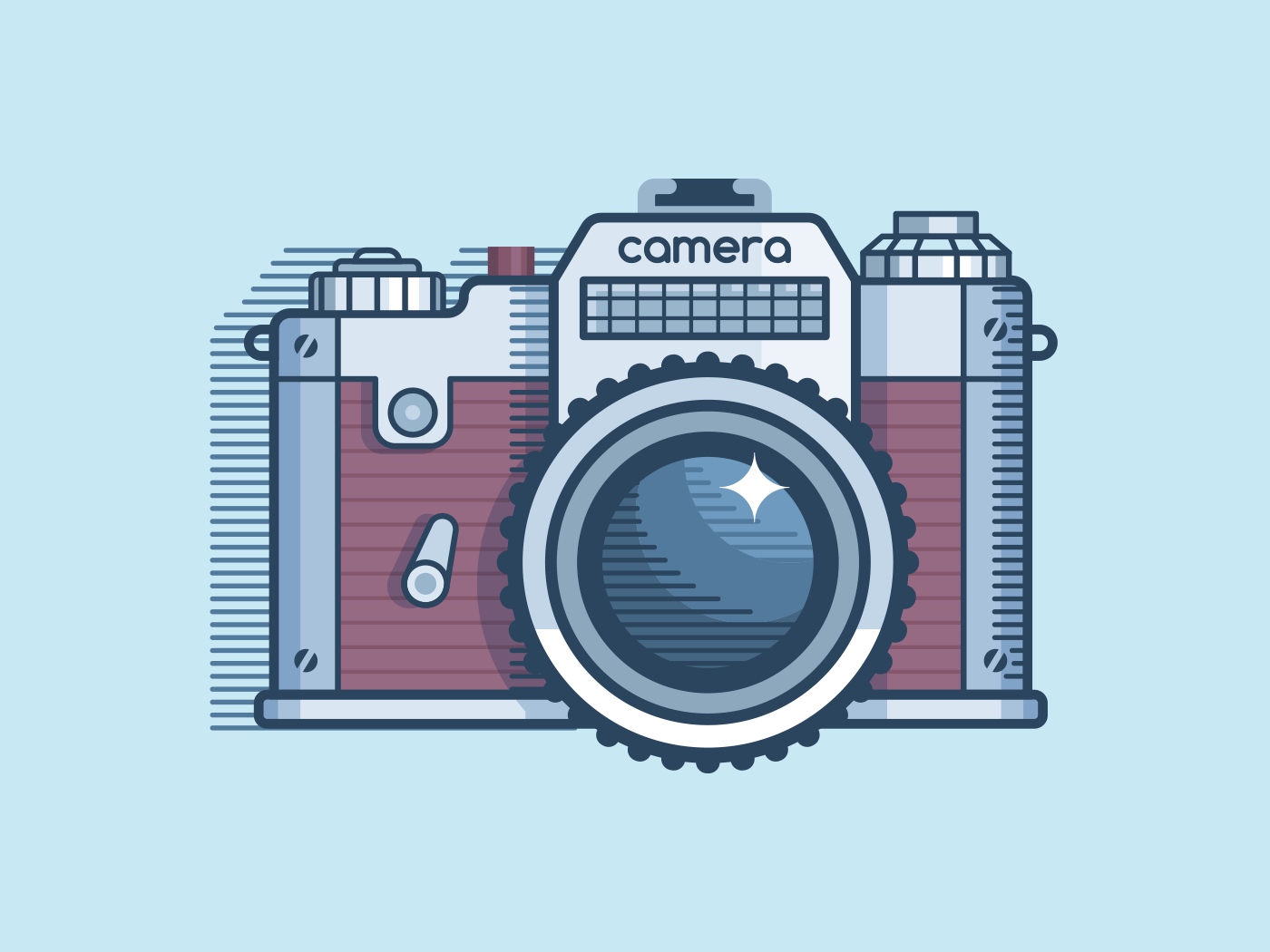 Camera retro design line vector illustration
