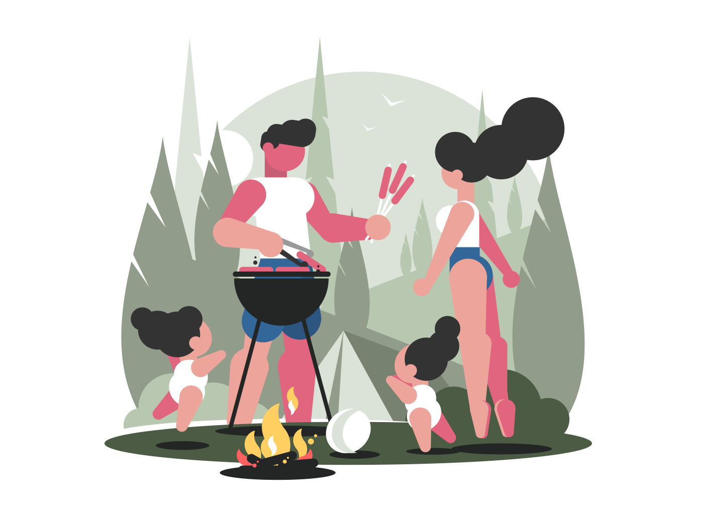Young family with children on picnic barbecue with campfire. Vector illustration