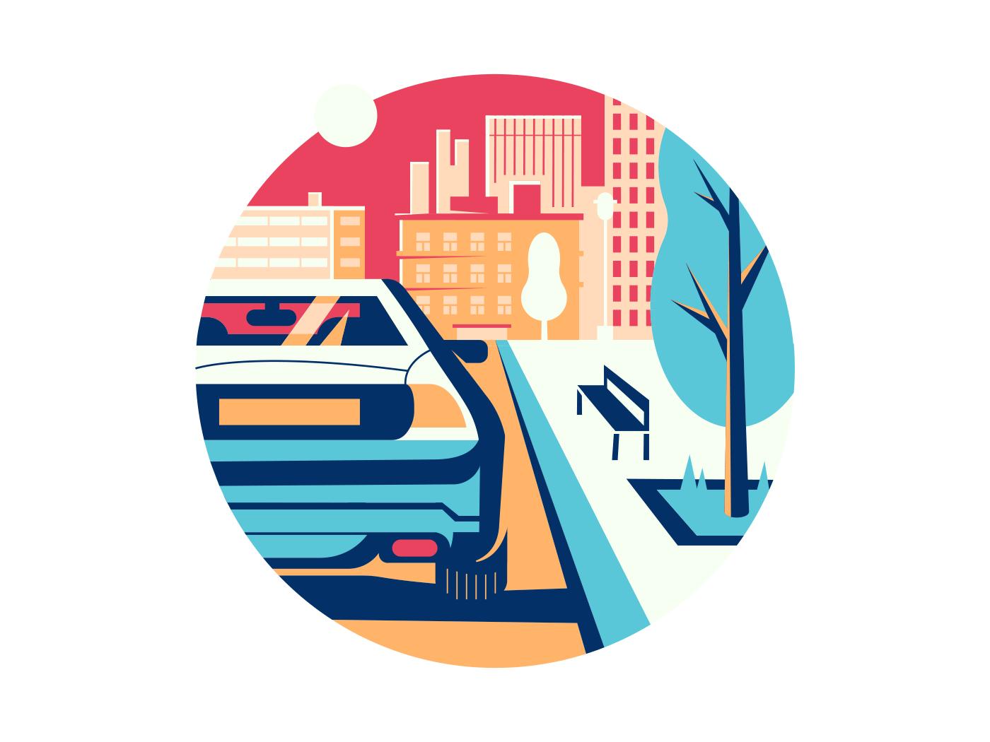 Car on road in city flat vector illustration