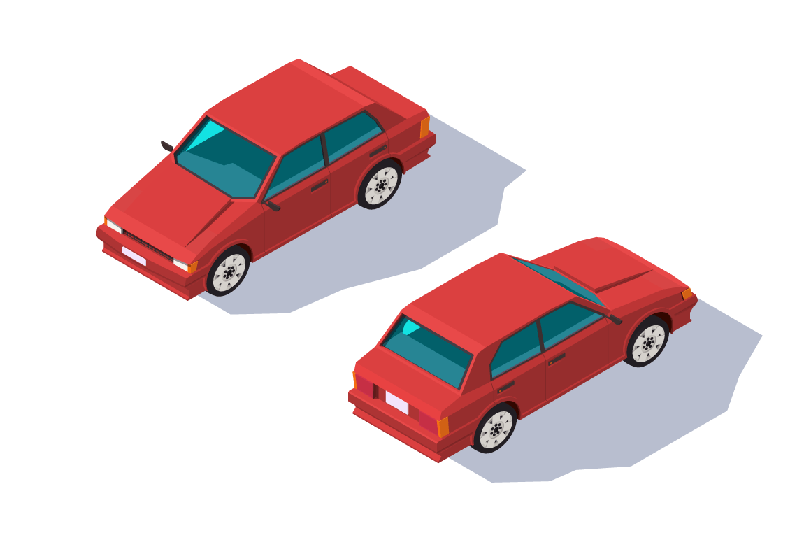 Isometric 3d four-seater red classic sedan car for family. red classic hatchback car for family.