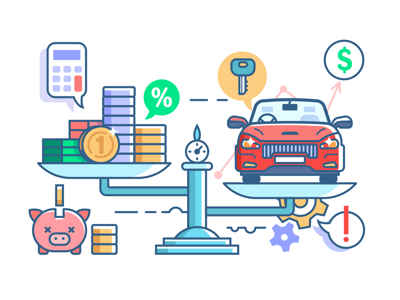 Car and money on scales vector illustration