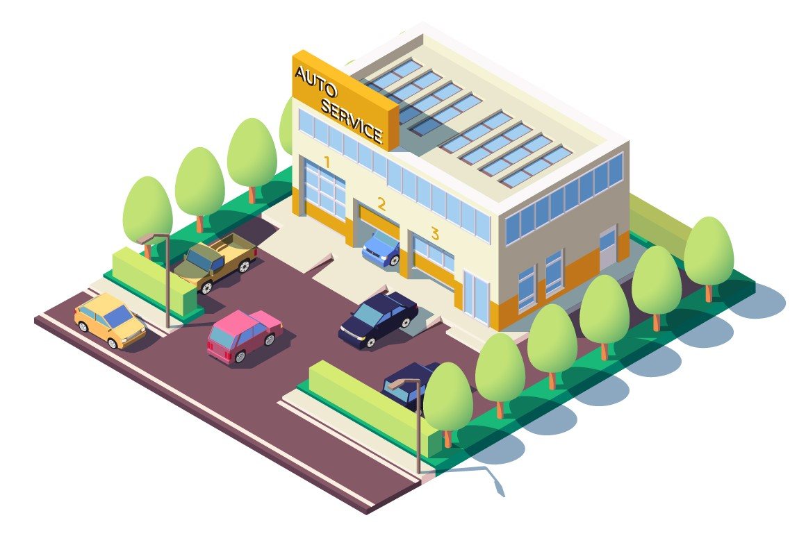 Modern car auto service with parking