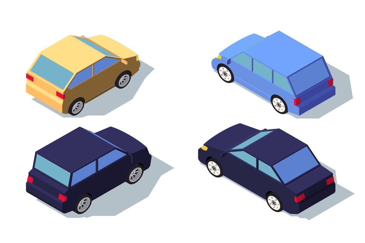 Isometric 3d back view blue and yellow classic sedan car.
