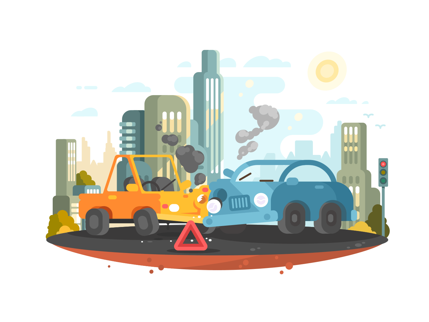 Road traffic accident illustration