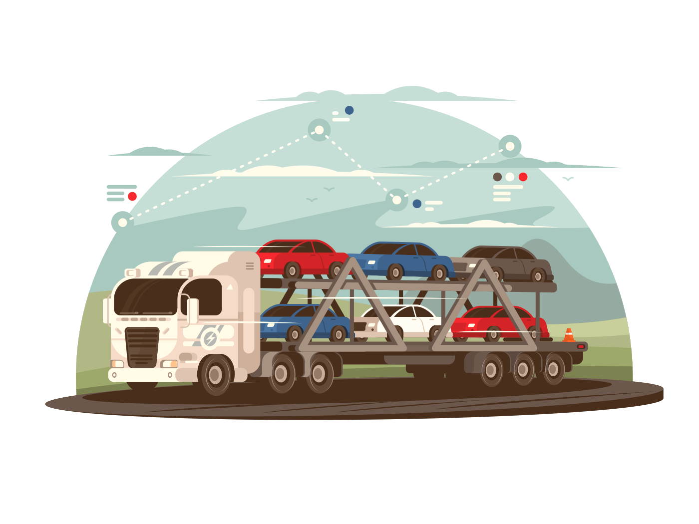 Transportation of cars illustration