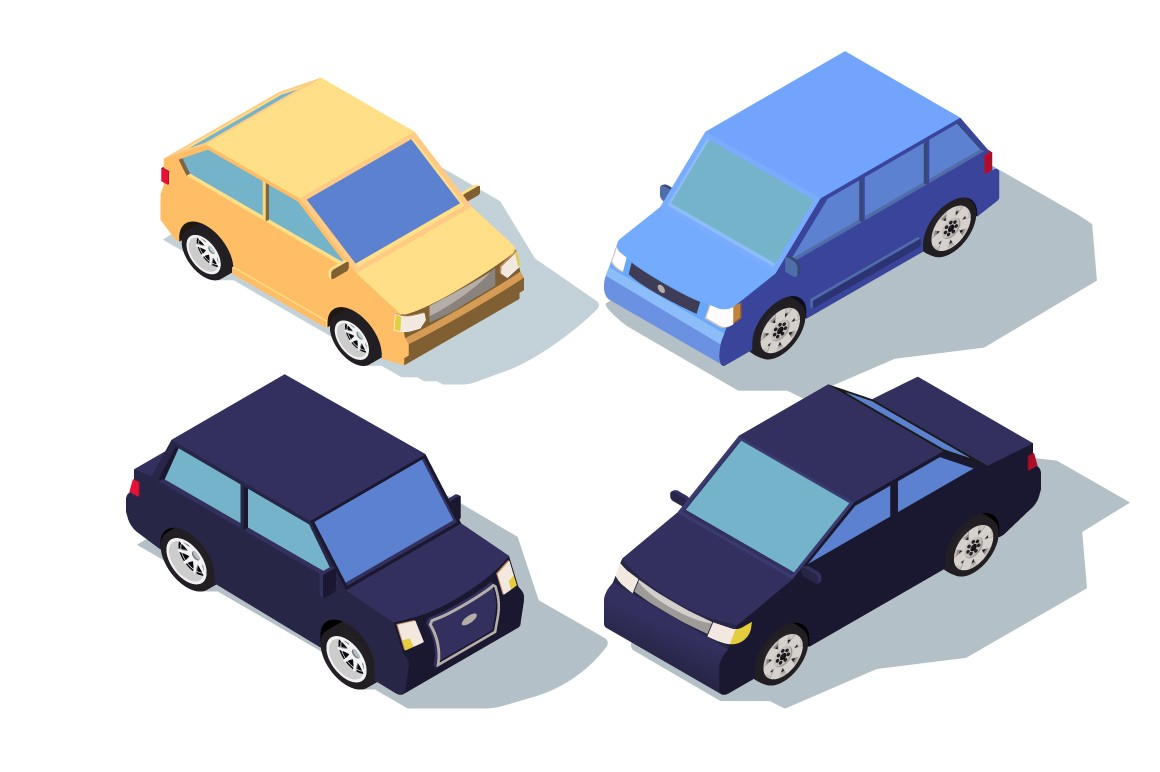 Isometric 3d front view blue and yellow classic sedan car.