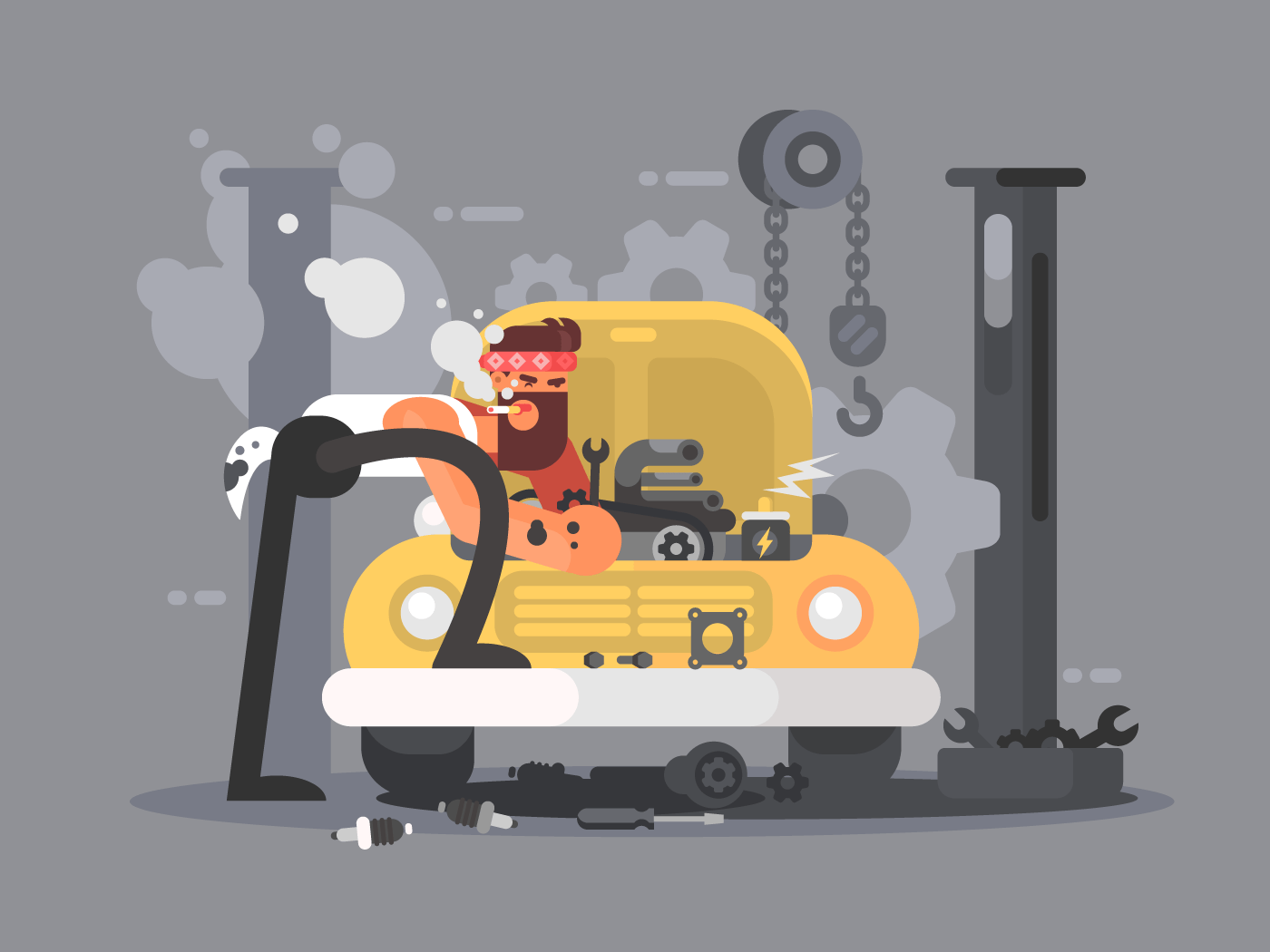 Man repair car flat vector illustration