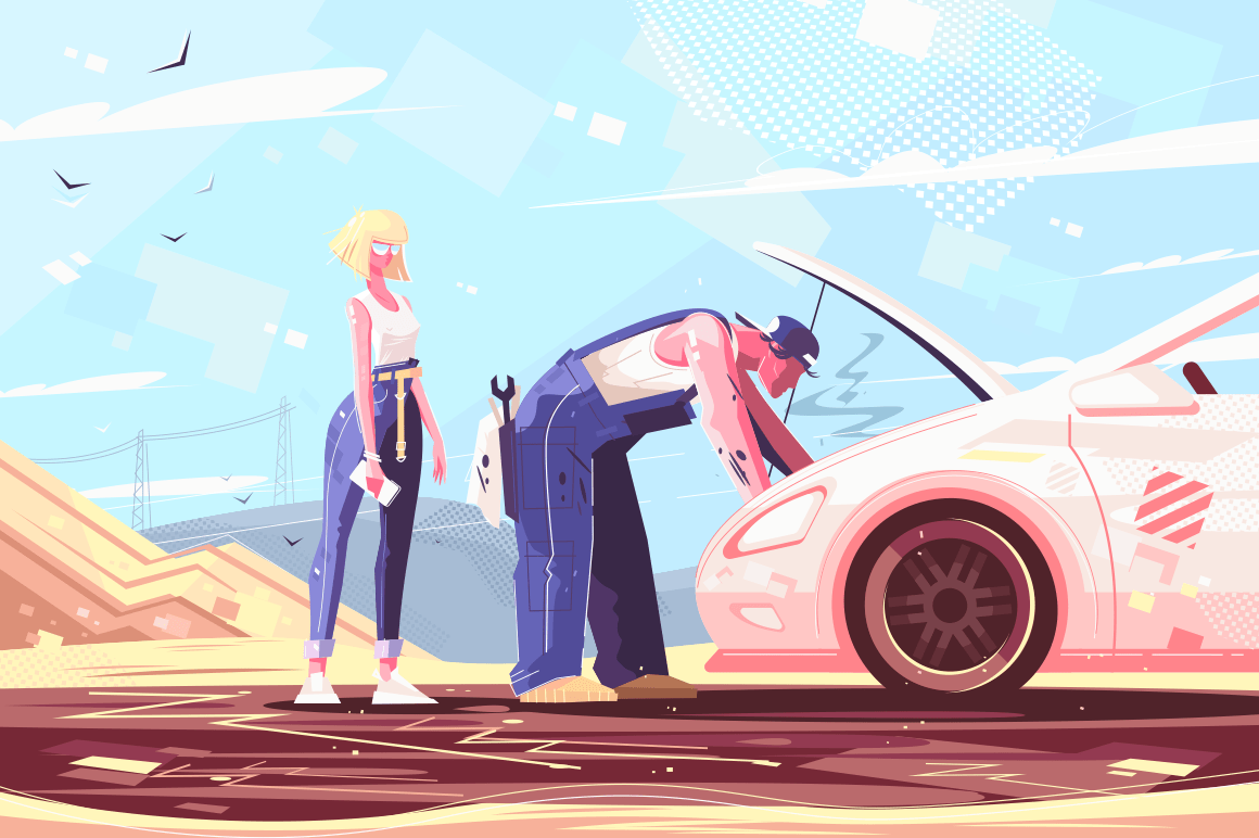 Car repair assistance vector illustration. Mechanic fixing broken vehicle outdoors. man helping lady improving troubled automobile flat style concept. Deserted background
