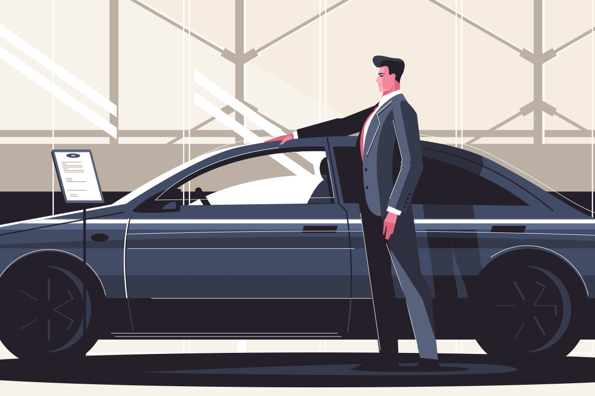 New car sale center vector illustration. Man standing near modern fashionable vehicle. Boy estimating price and quality of auto. Seller at the automobile showroom shows new machine flat style concept