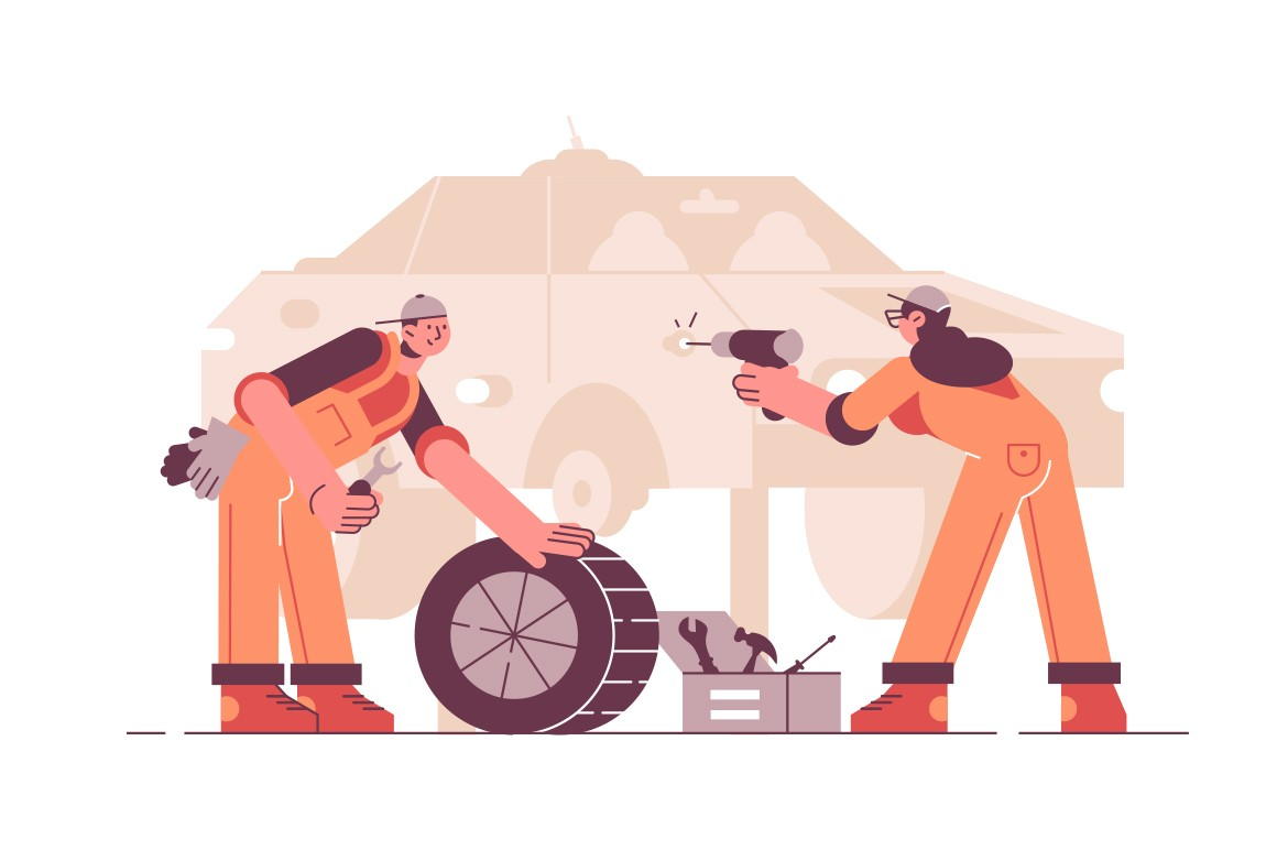 Car service station vector illustration. Repairman repairing vehicle on lift. Workers in uniforms with special equipment and tools removing wheels flat style design. Workshop concept