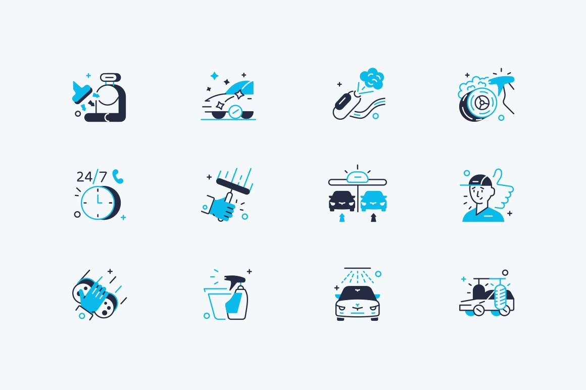 Car washing icon set vector illustration. Composition consist of polishing glass, vacuum cleaner, wash products, device and round-the-clock service flat style concept. Isolated on white