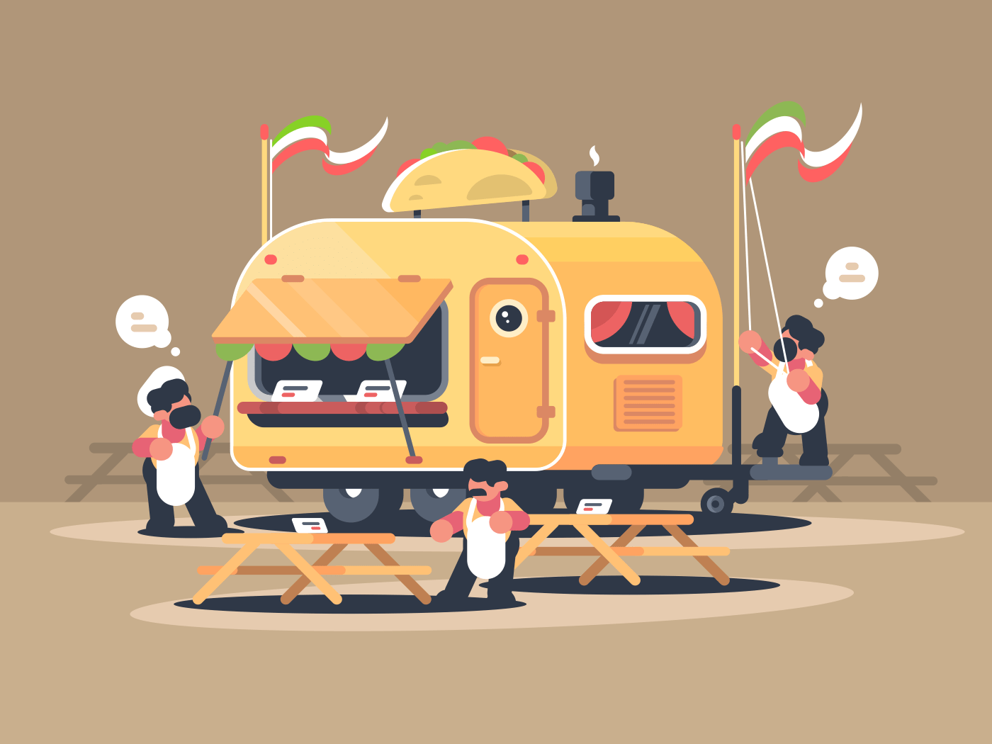 Mobile van kiosk for sale nachos. Cafe mexican cuisine. Vector illustration