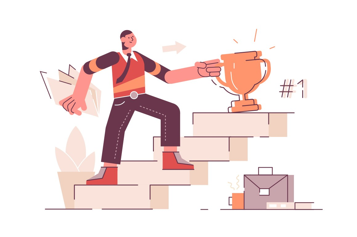 Man on career ladder vector illustration. Successful guy stands on stair steps with winner cup flat style design. Goal achievement and leadership concept