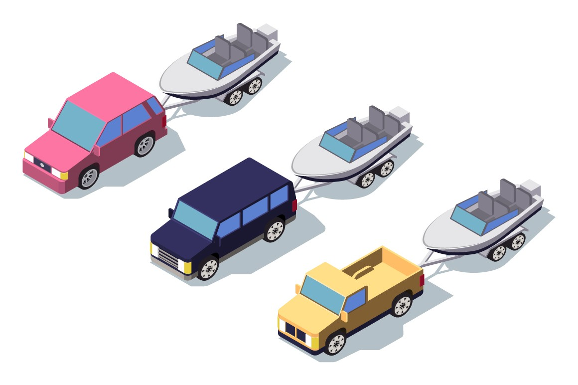Isometric 3d front view classic pickup truck car with boat.