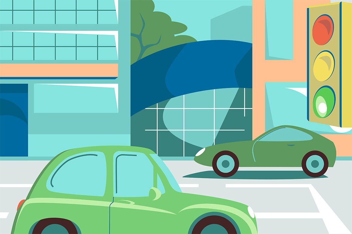 Green cars on street road vector illustration. Vehicles in city traffic. Driveway with marking, lights and big buildings flat style design. Metropolis landscape