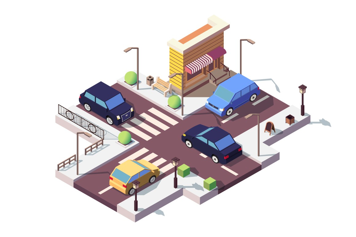 3d isometric landscape with car on street.