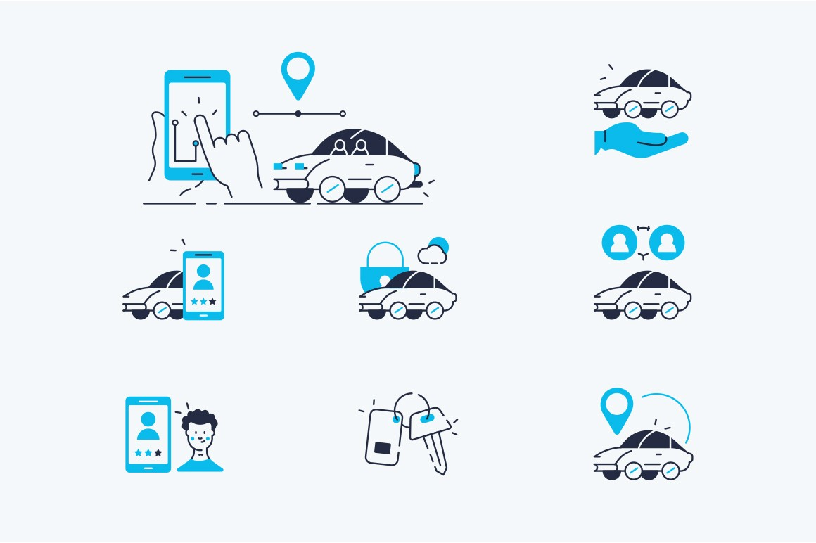 Carsharing icons set flat vector illustration. Collection consists of online app symbols for car rent such as key, blocked auto, pointer, available, searching of vehicle, feedback. Isolated on white