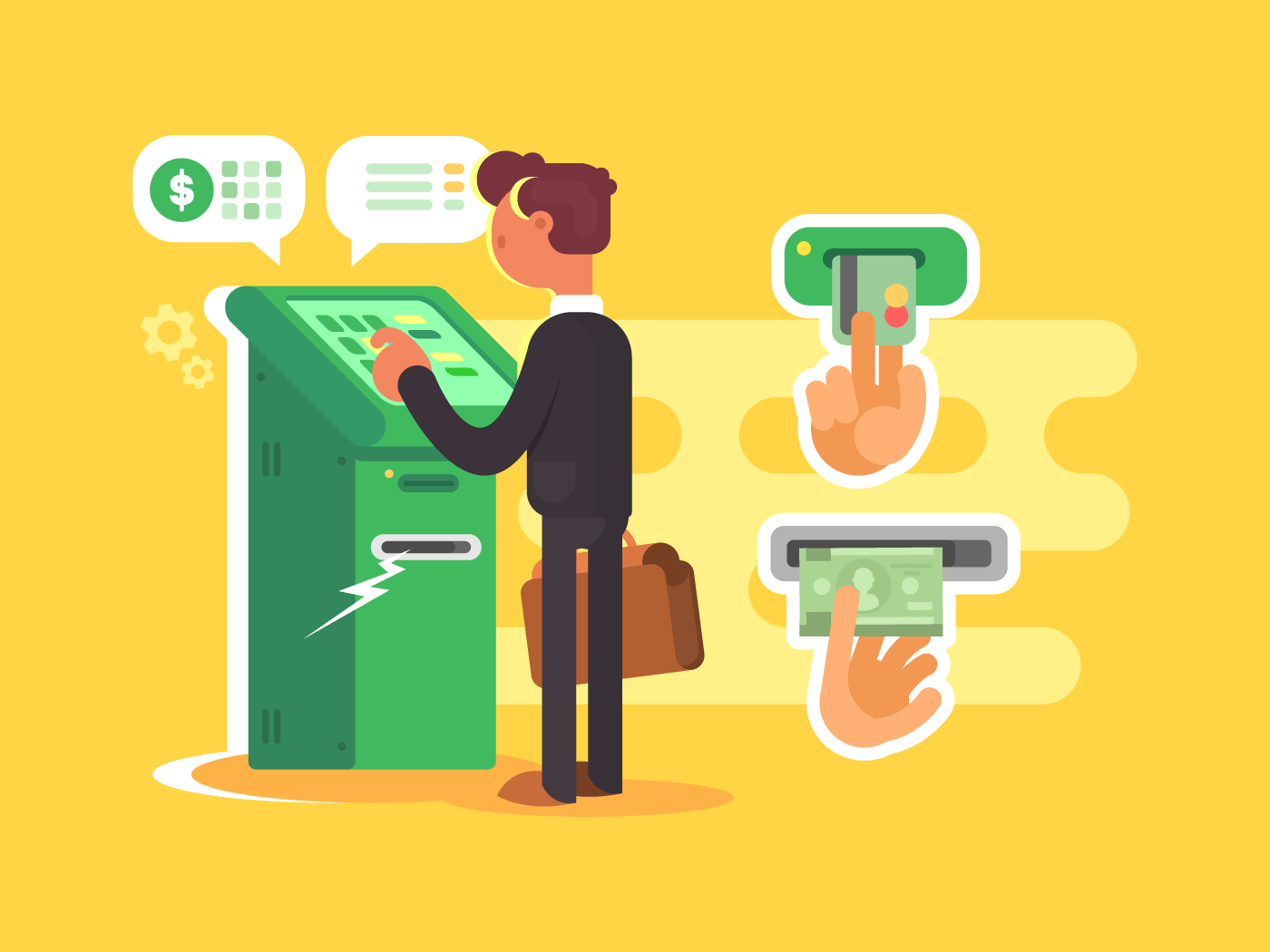 Man takes cash from ATM flat vector illustration