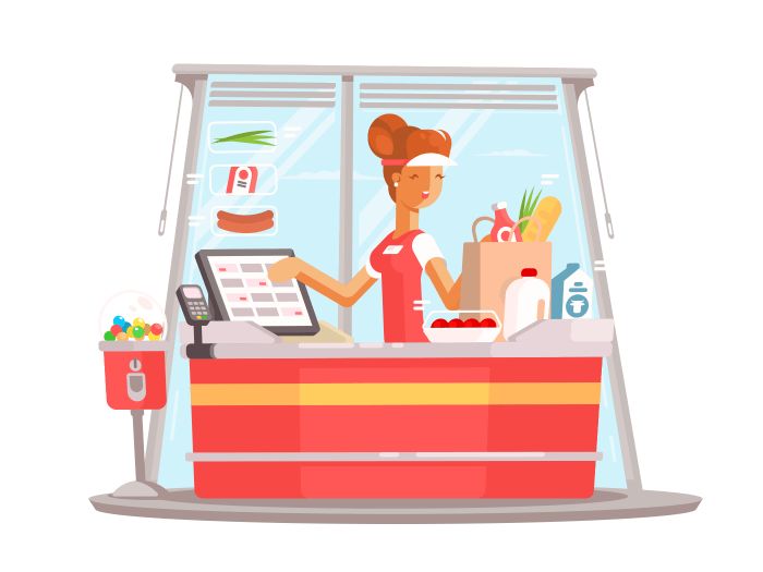 Young girl cashier illustration