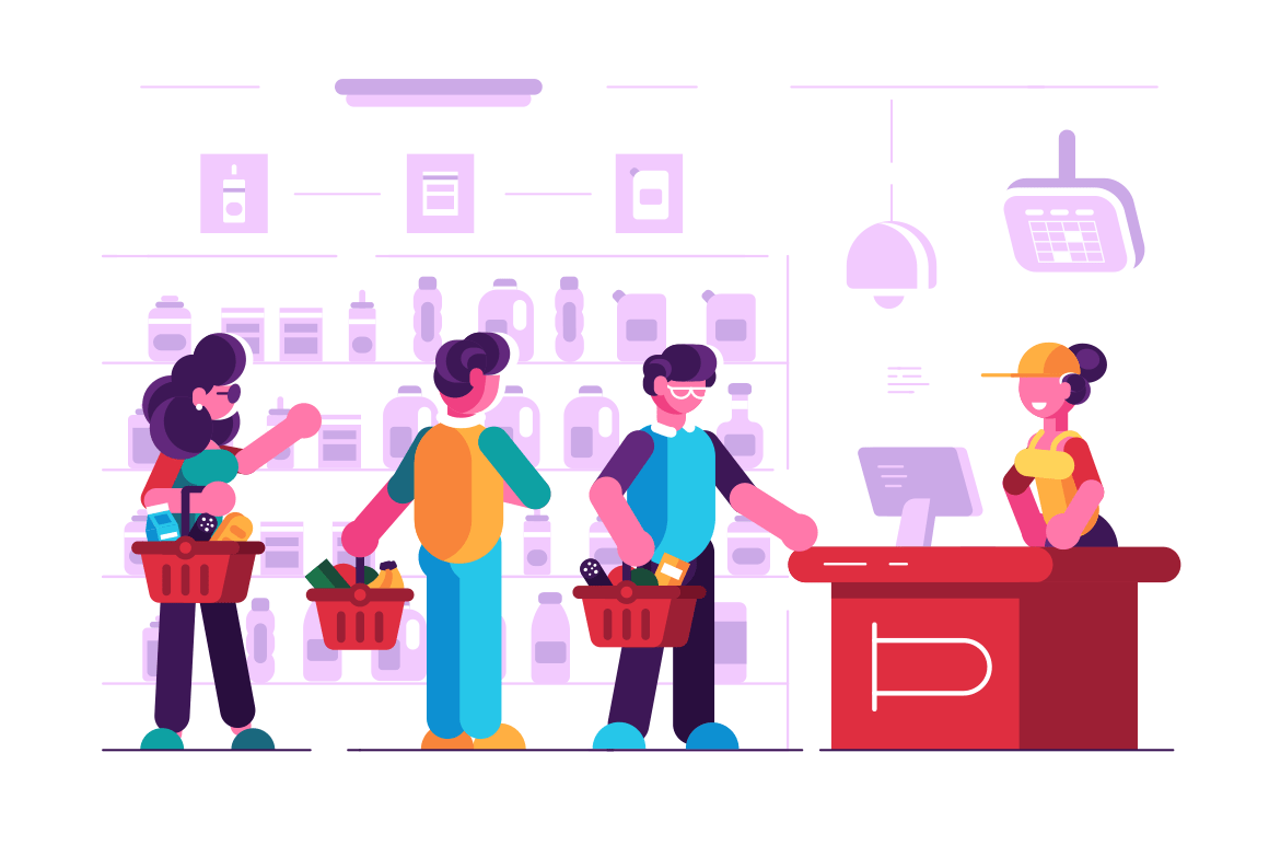 Cashier at cash desk in supermarket vector illustration. Customers in long queue with female paymaster at groceries store flat style concept. Self-service shop interior