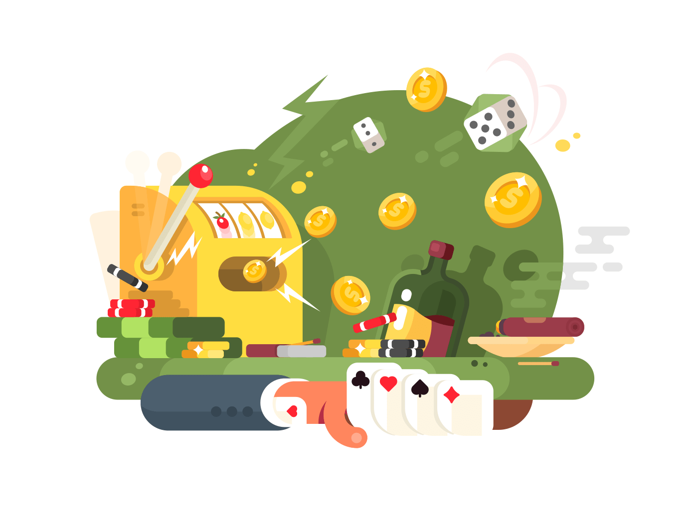 Casino gambling games illustration