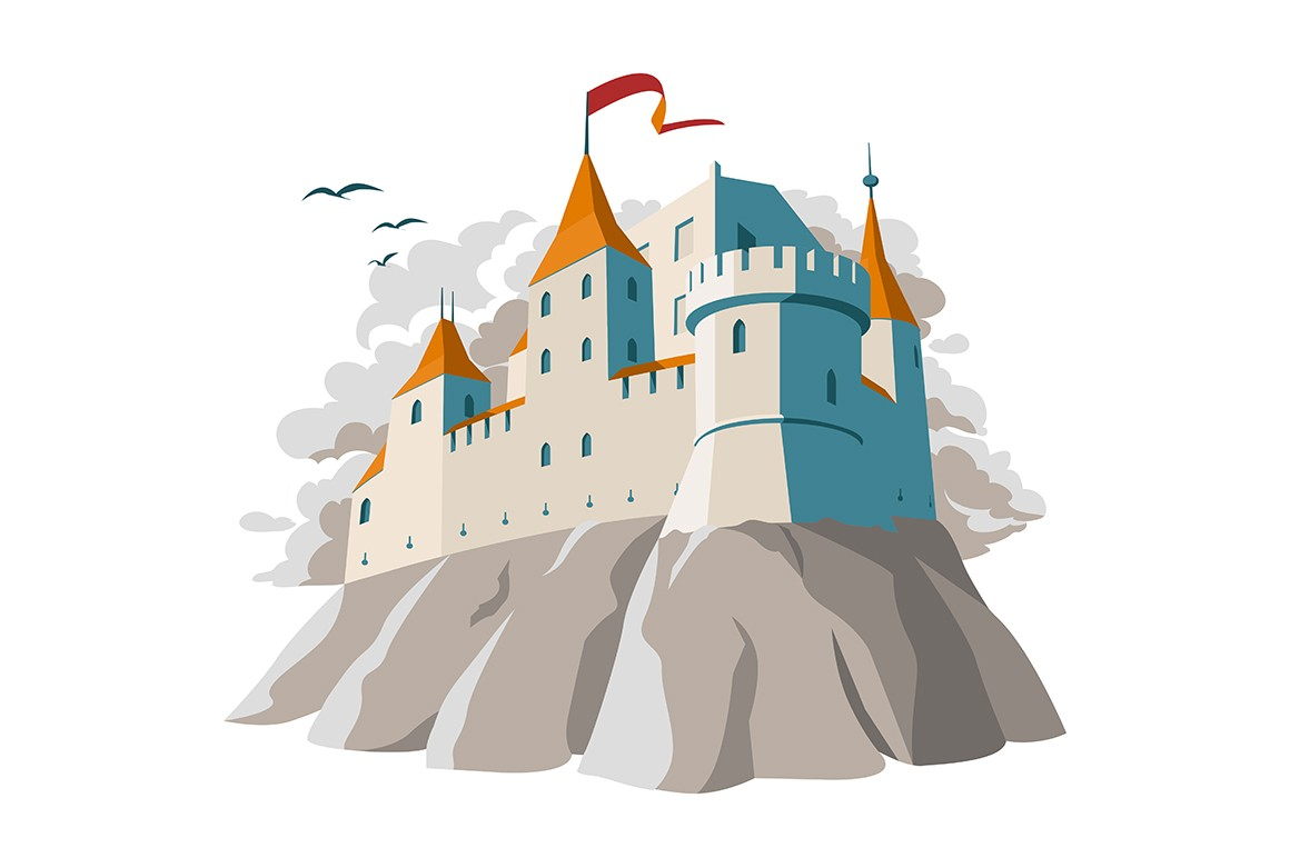 Medieval castle on hill vector illustration. Fortified fortress in gray colors with arched windows and red flag on turrets flat style design. Fairytale kingdom palace isolated on white