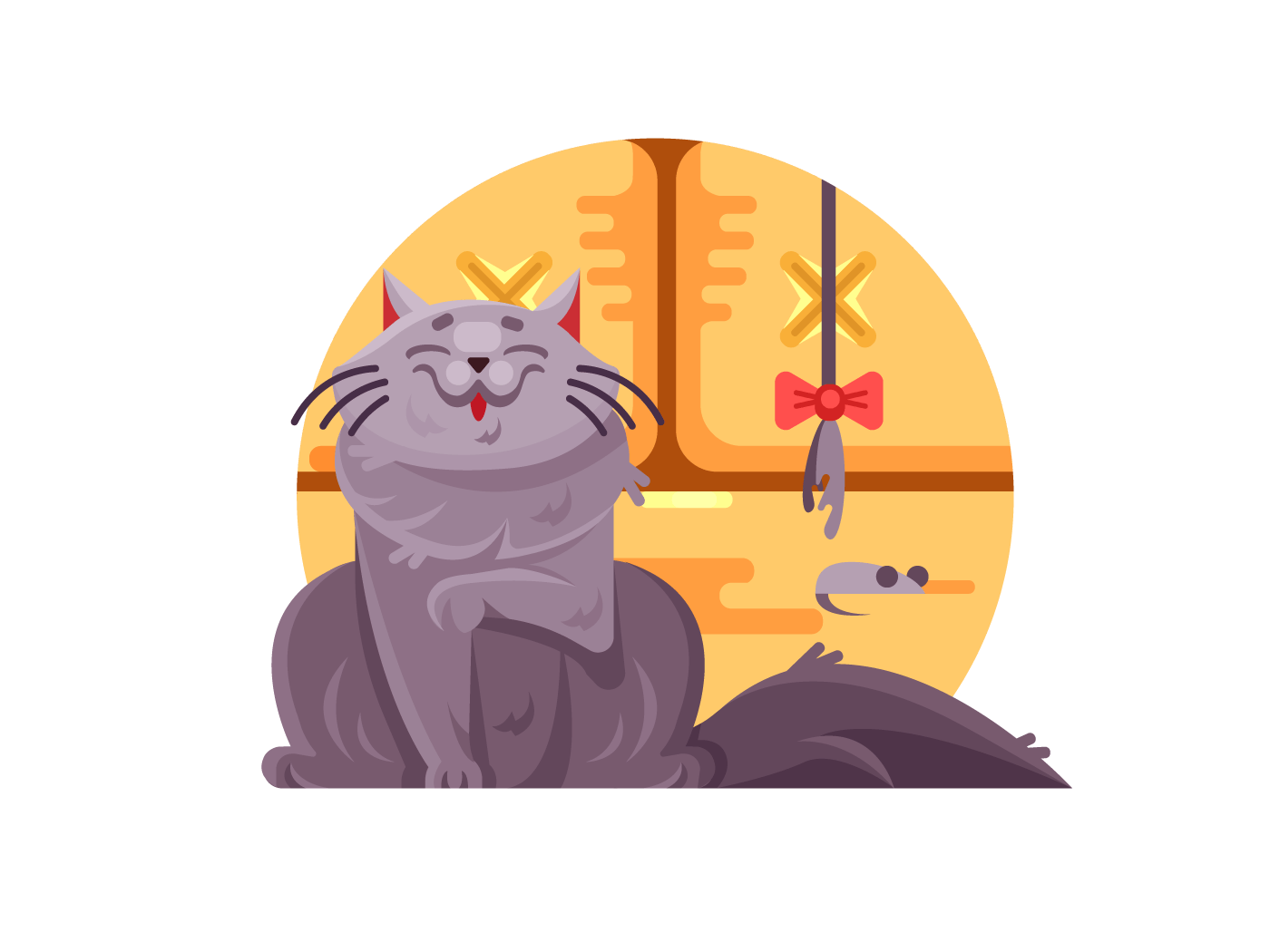 Cute cat and little mouse illustration