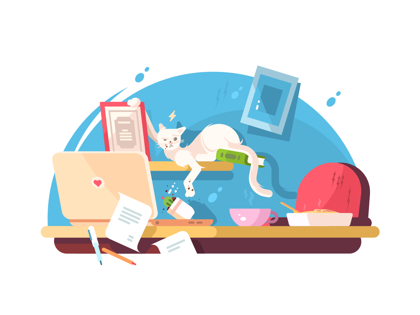 Cute cat and mess in workplace illustration