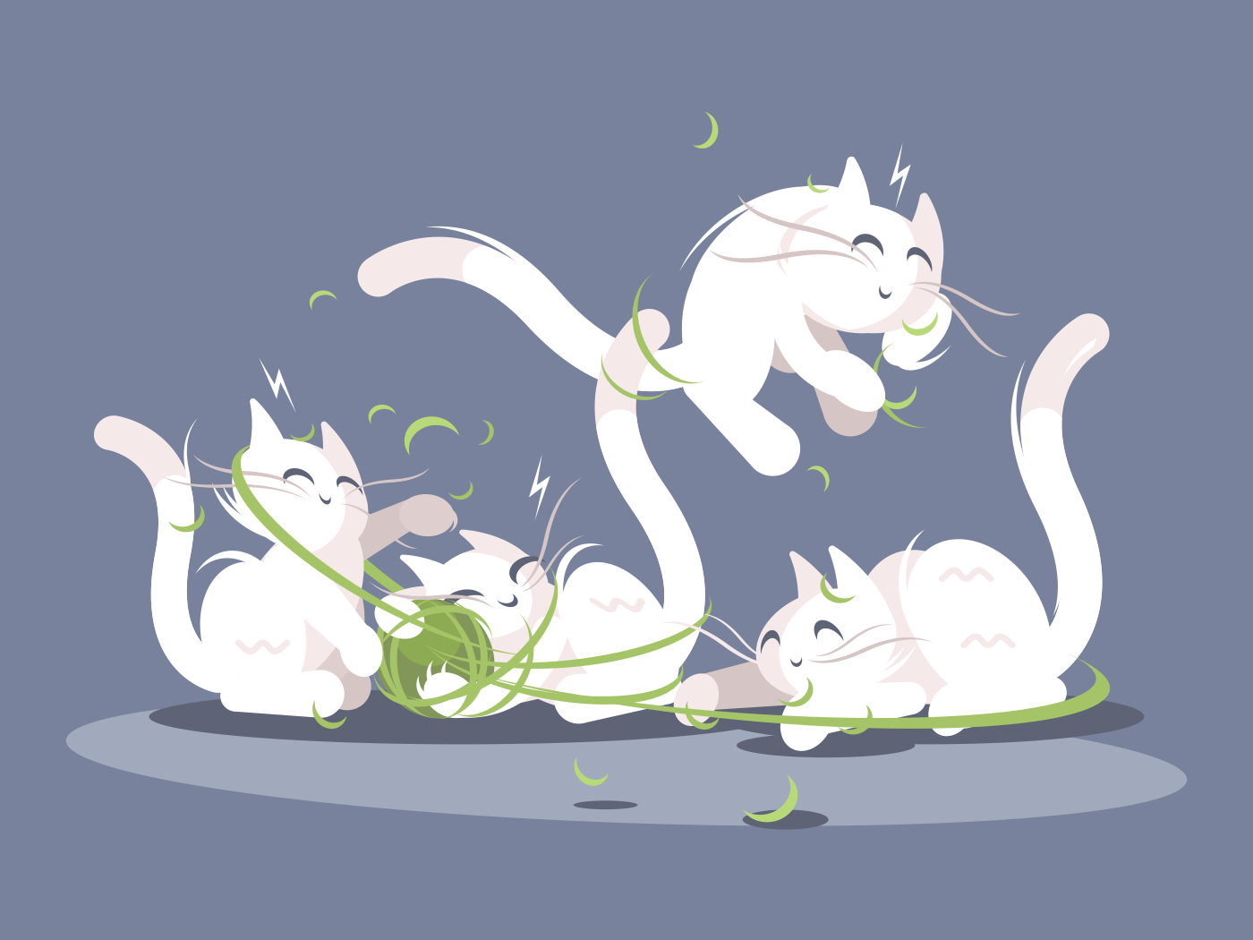 Lovely kittens play with ball of threads. Small pets vector illustration