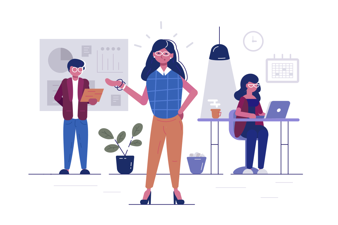 Workers in office vector illustration. Man and women sitting at desk, standing in cabinet, typing on computer flat concept. Business characters working in bureau. Effective and productive teamwork