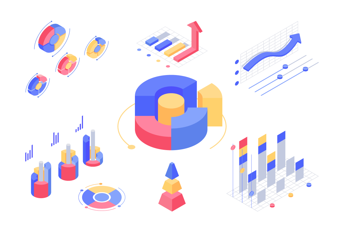 Isometric 3d charts and statistics with set diagrams and graphs.