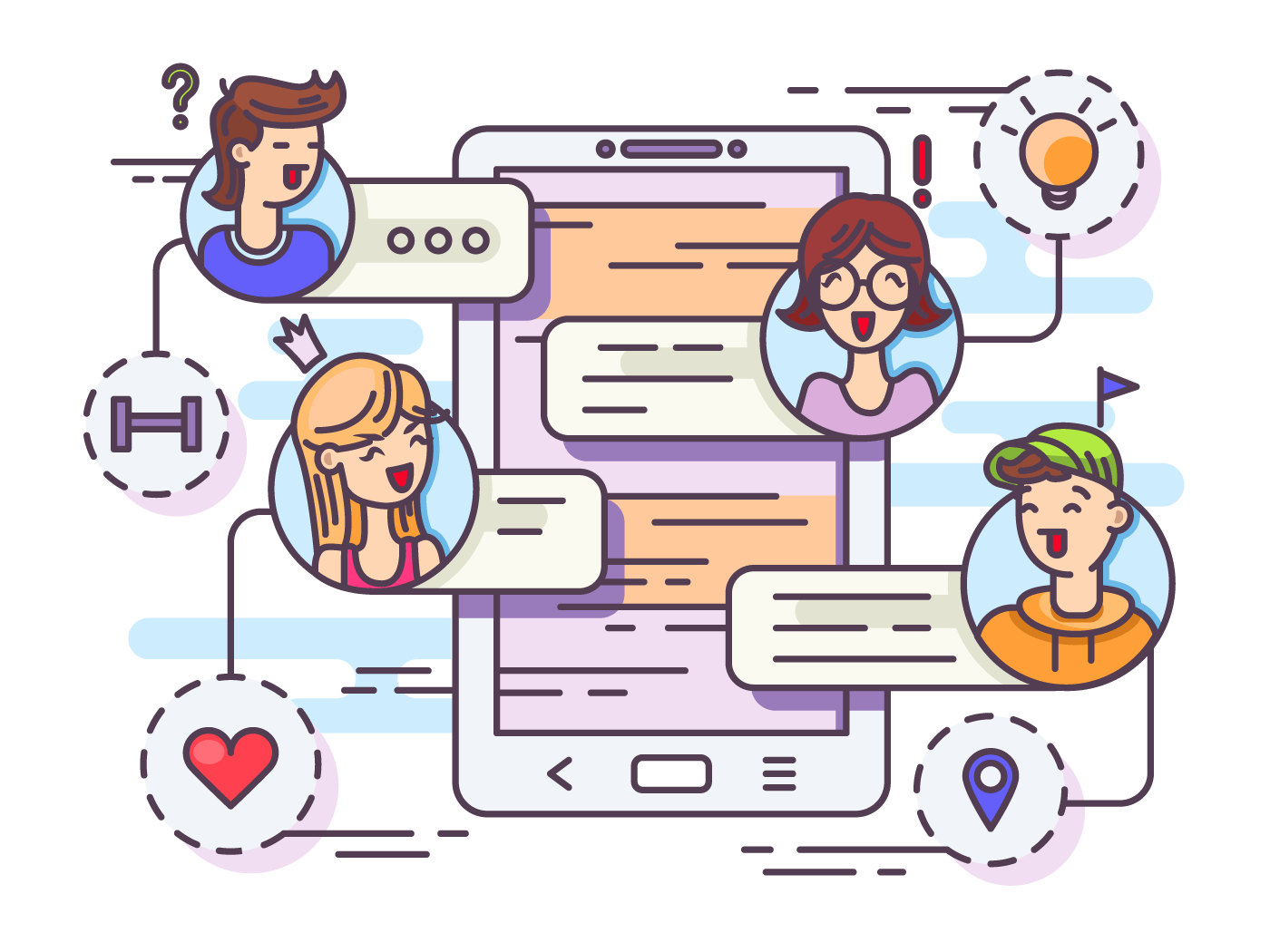 General chat group in messenger. Chatting between friends. Vector illustration