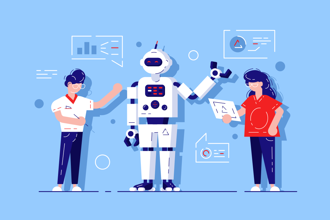 Man and woman developing chat bot. AI simulating conversation with human users over internet vector illustration. Online talking with Robot. Virtual mobile application assistance flat style concept