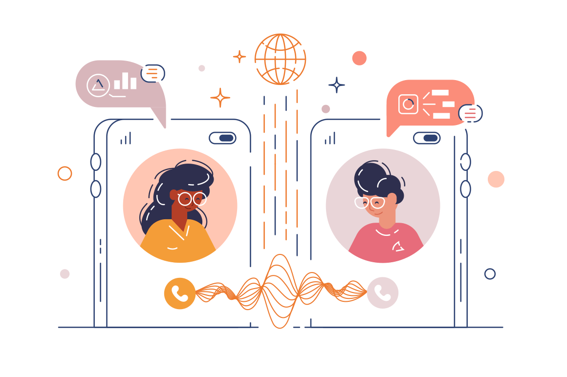 Women chatting via mobile phone app vector illustration. Friends messaging via smartphone internet application flat style. Social media and virtual communication concept