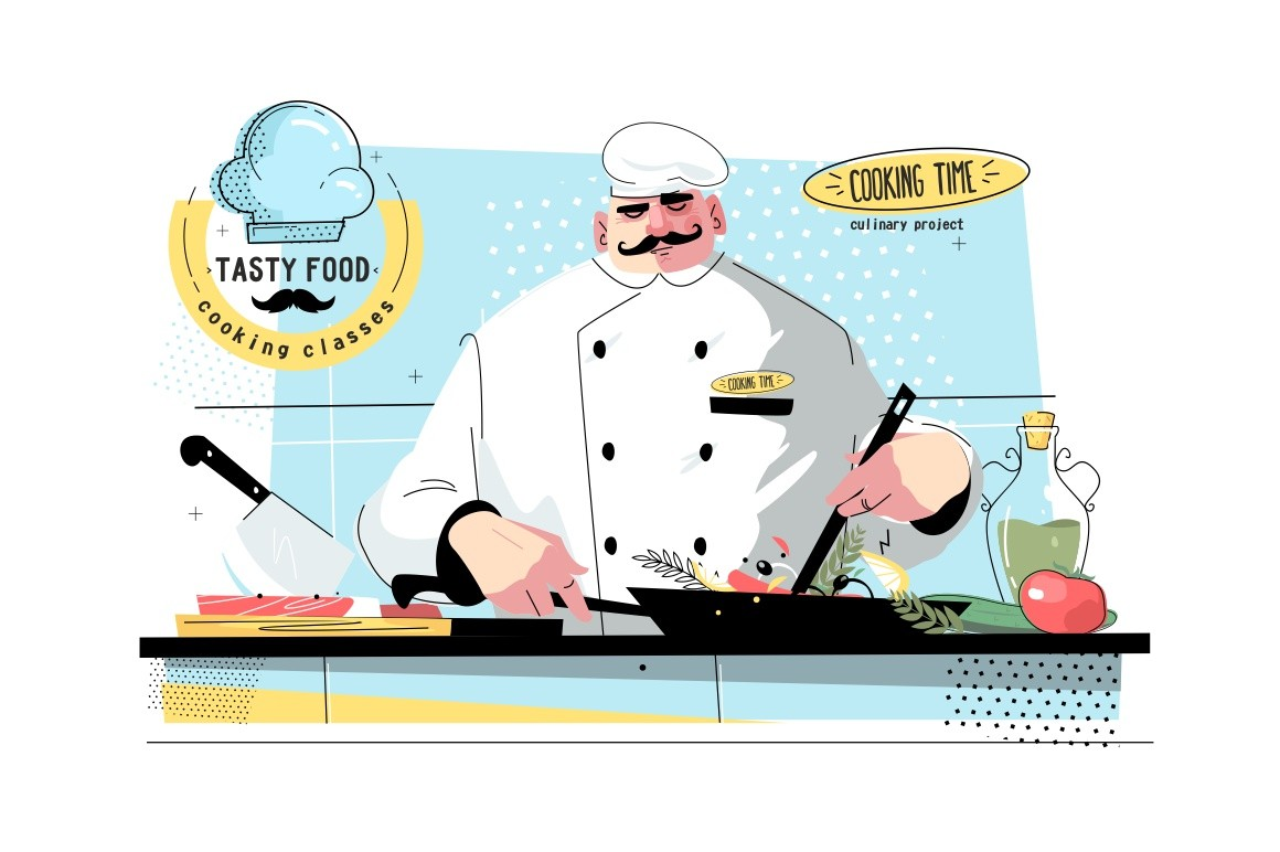 Cooking time and culinary project vector illustration. Chef man wearing cook hat and uniform frying vegetables with greens in pan at kitchen flat style concept