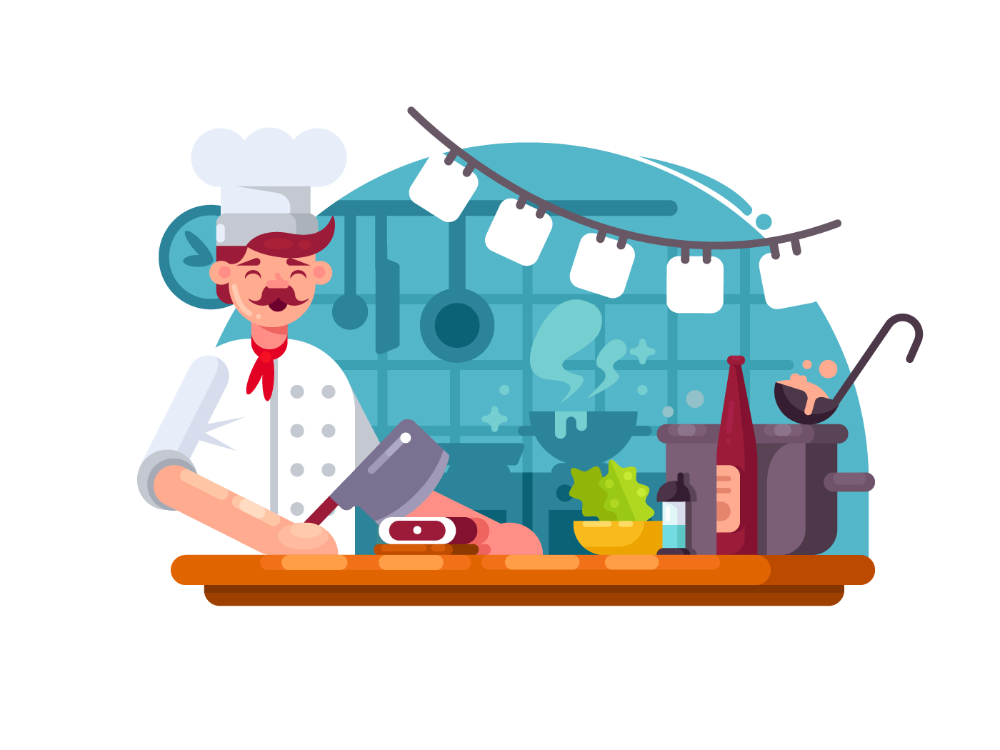 Chefcook in kitchen to prepared meat illustration
