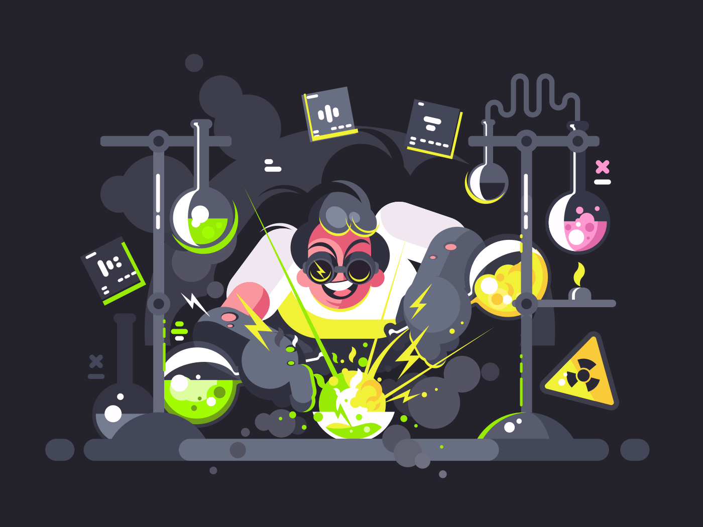 Scientist chemist making test or chemical experiment in laboratory. Vector illustration