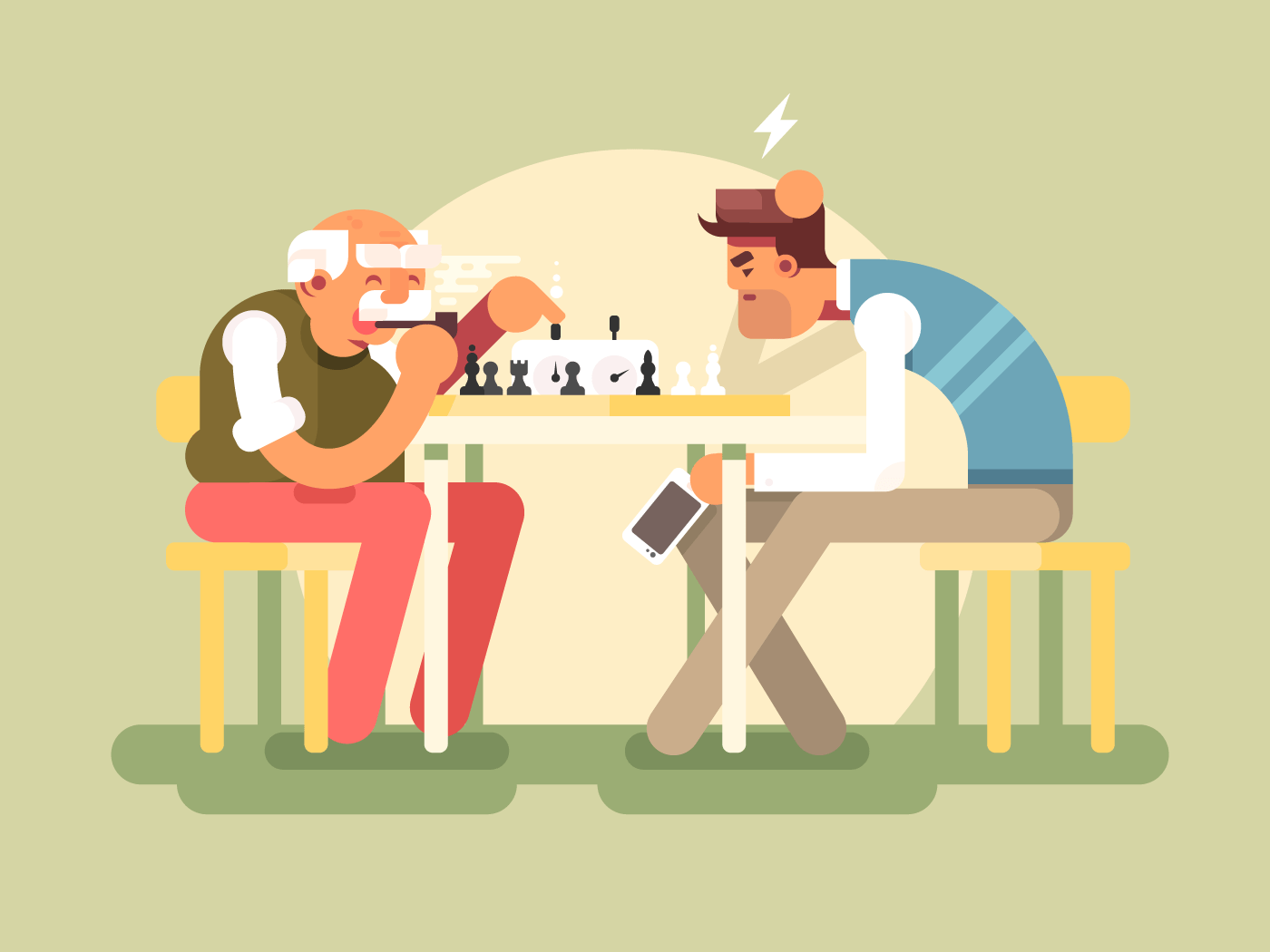 People play chess flat vector illustration