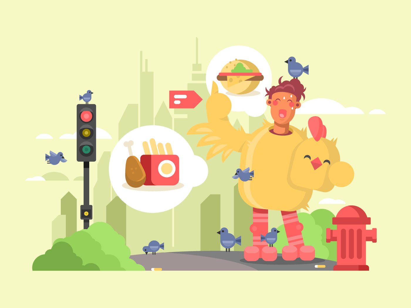 Man in chicken suit flat vector illustration