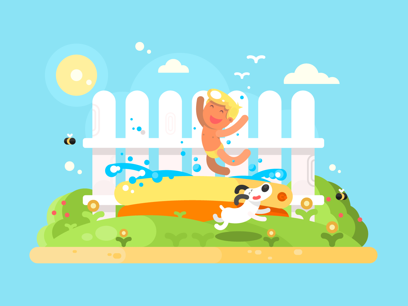 Little boy in garden pool having fun flat vector illustration