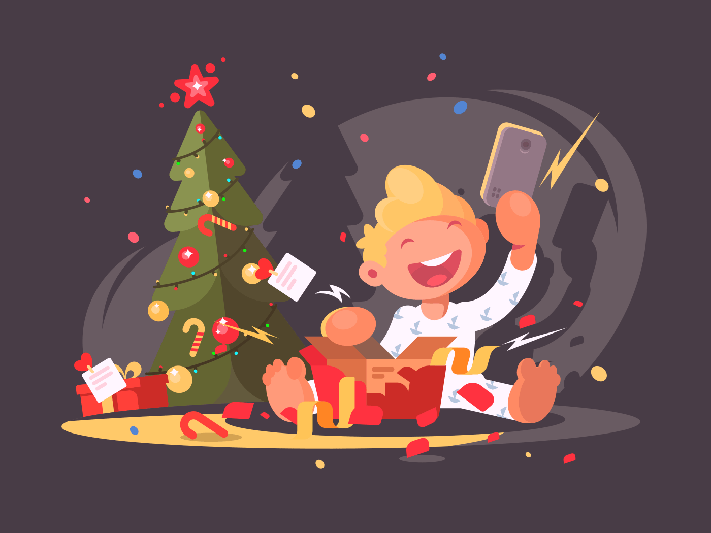Child opens Christmas present illustration
