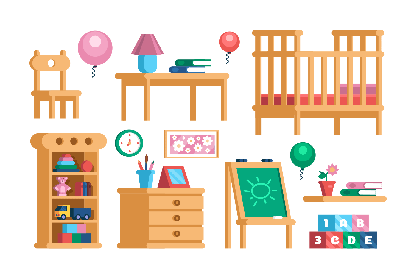 Set childrens room interior furniture collection. Nursery playroom accessories concept. Flat. Vector illustration.