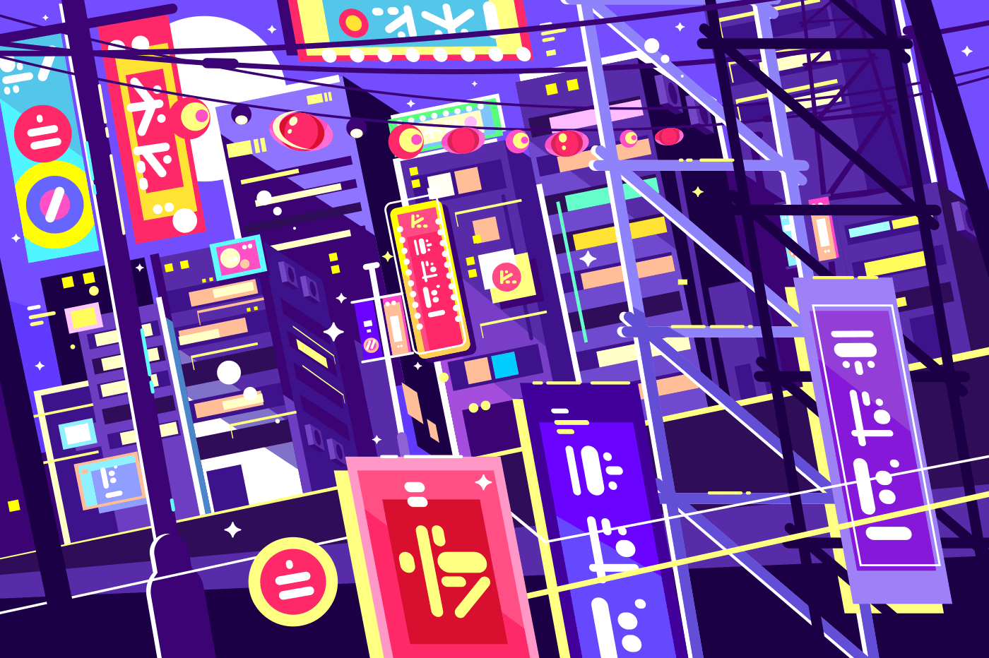 Evening chinese city. Bright neon signs and glowing streets. Vector illustration