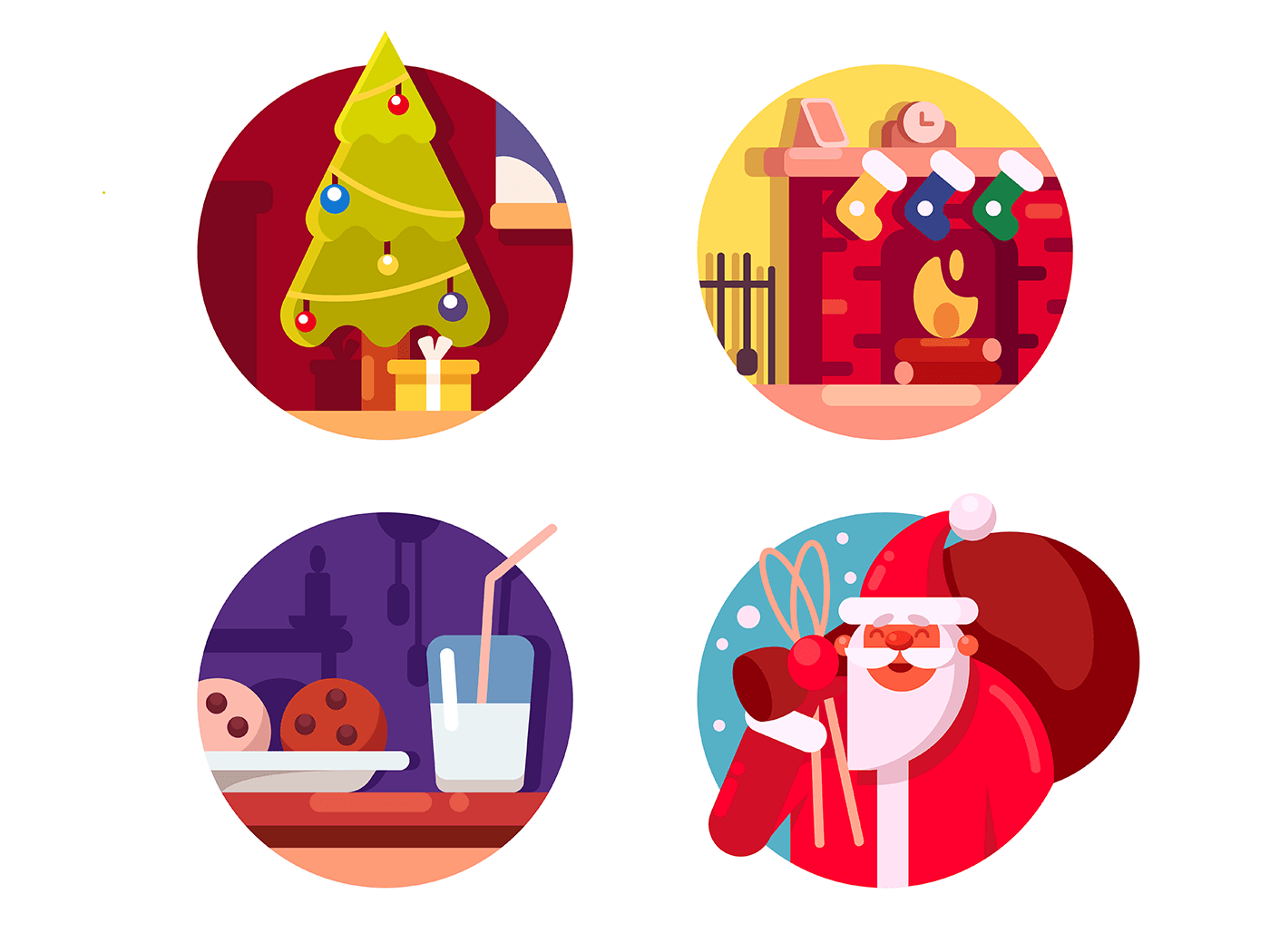 Happy Christmas holiday icons