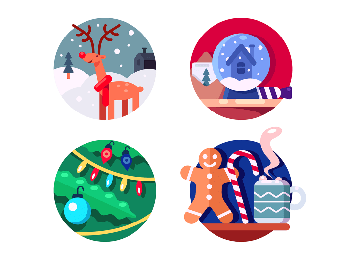 North Christmas reindeer icons