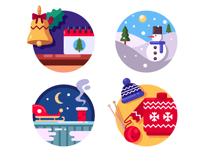 Winter fun holiday Christmas icons