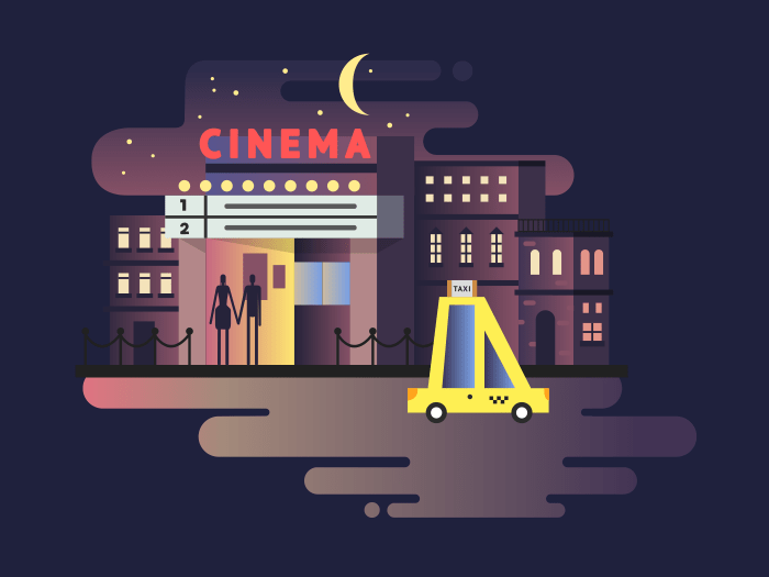 Cinema building night illustration