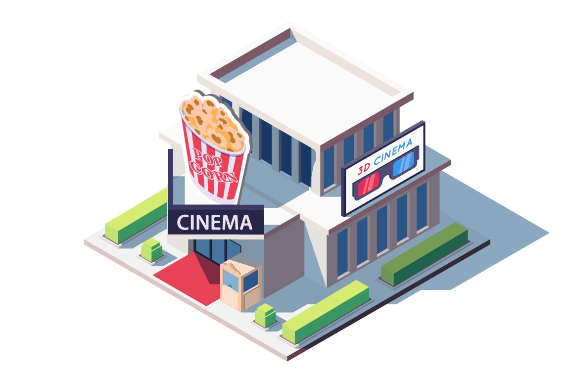 Public cinema building with popcorn